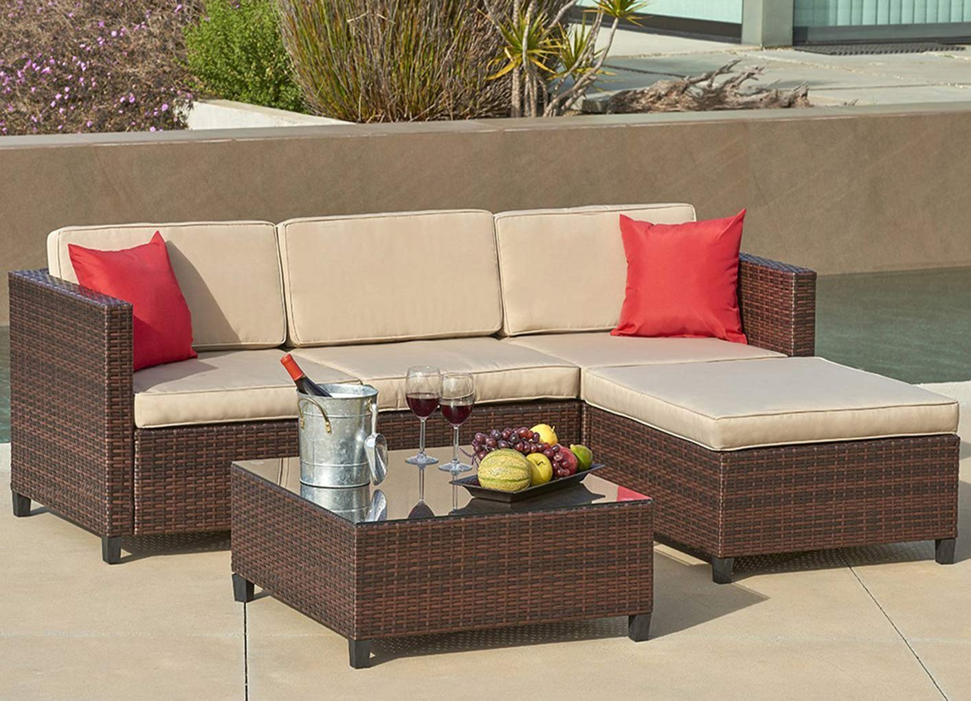 Suncrown Outdoor Furniture Sectional Sofa (5 Piece Set) All Weather Brown  Checkered