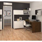 Bestar Pro-Linea L-Desk with Hutch, White & Oak Barrel