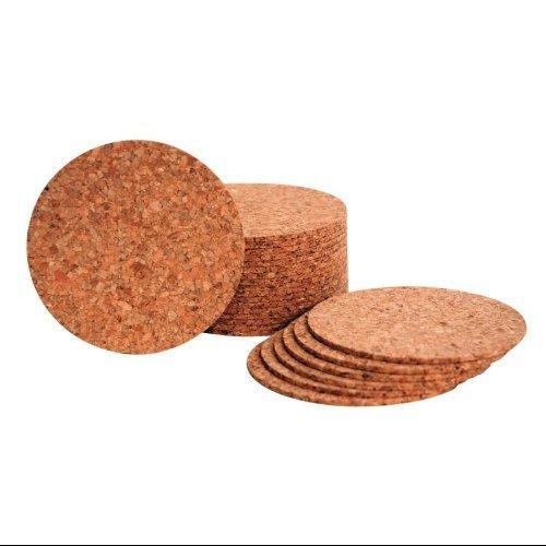 "Hygloss - Medium Grain Cork Coasters, Pack of 24, (4""x 1/8"")"