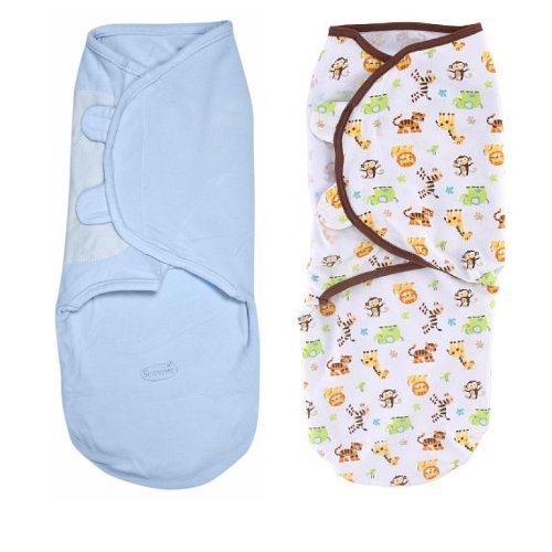 Summer Infant SwaddleMe 2 Pack Cotton Knit - Wild Fun, Large