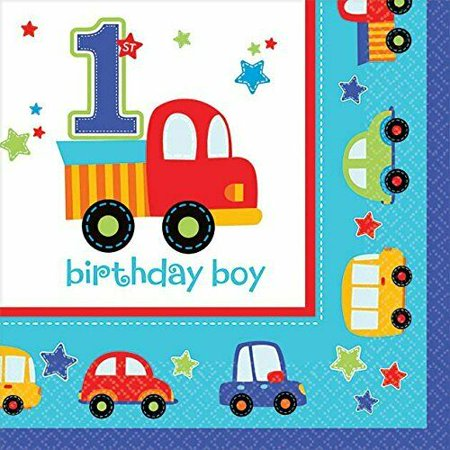 All Aboard Boy Train Car Truck Cute 1st Birthday Party Paper Beverage Napkins