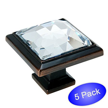 """Cosmas 5883ORB-C Oil Rubbed Bronze Cabinet Hardware Square Knob with Clear Glass - 1-1/4"""" Square - 5 Pack"""