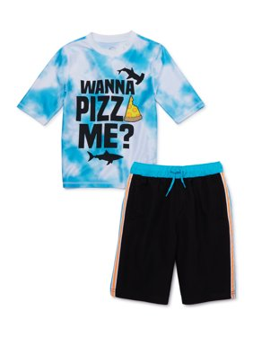 Wonder Nation Boys Short Sleeve Rash Guard Swim Shirt and Shorts, 2-Piece Set, Sizes 4-18, UPF 20+