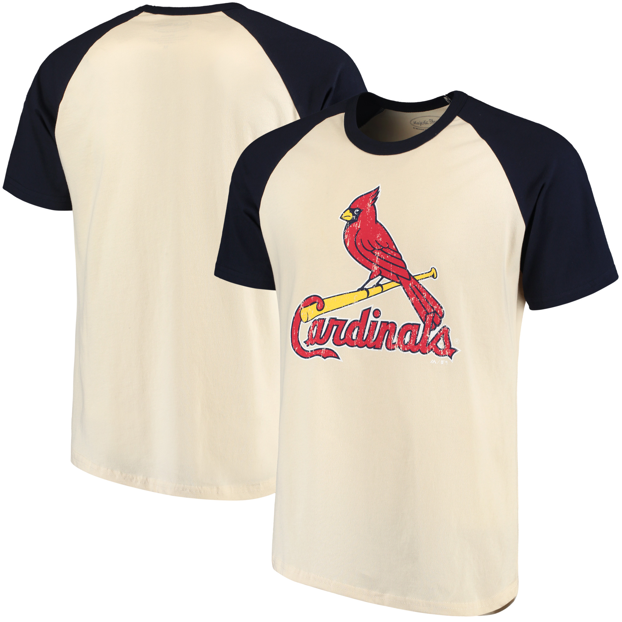 St. Louis Cardinals Majestic Threads Softhand Raglan T-Shirt - Cream/Navy