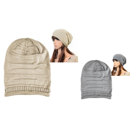 Zodaca - Zodaca 2 Piece Set Solid Color Womens Beanie Hat Winter Warm  Oversized Cap (Beige+Gray) - Walmart.com df10bc6c1b4