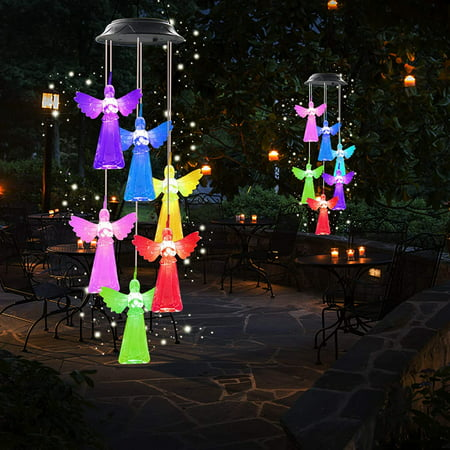 Angel Wind Chime Solar Wind Chimes Outdoor Gardening Gifts for mom Unique Birthday Gifts for Women who has Everything Mother Gifts Gifts for Girlfriend Valentine Gifts for Wife COLORFUL MAGICAL WIND CHIMES: These are interesting and magical wind chimes that keep you in a good mood. At night, they will shine in wonderful colors, red, yellow, green, orange, purple, red and blue. They will change various kinds of brilliant colors to light up your heart, making you and family happy. They are so close to you, even 10 times more beautiful than the shining stars in the sky. You'll love them.(GIFTS FOR MOM ,MOM GIFTS,BIRTHDAY GIFTS FOR MOM,GRANDMA GIFTS, GARDEN GIFTS FOR MOMSOLAR POWER,CHARGE AND LIGHT UP AUTOMATICALLY: In sunny days,they will charge themselves and glow at night.Just hang the crystal solar wind chimes in your fence,courtyard,window,door and front porch.On a quiet night,the lovely wind chimes will make you feel at ease and make your yard beautiful and colorful.You can even hang them indoors to fill your room with romance,so that you and your loved ones can enjoy this beautiful color light.EASY TO HANG AND MOVE WIND CHIMES OUTDOOR: Unique rain-proof and moisture-proof design. Whats more, they will not get deformed, light weight, easy to hang. They can be placed both indoors and outdoors, which are ideal gifts for decorating courtyard, garden, patio, backyard, front porch and bedroom, making your life interesting.BEAUTIFUL HOME DECOR AND TOP GIFTS OR MEMORIAL WIND CHIMES: The interesting wind chimes light decoration is not only the best gift for girlfriend, wife's wedding anniversary, child's birthday,mother's birthday, or Mother's Day, Father's Day,Thanksgiving Day,Valentine's Day and Christmas,But also the high-quality interesting led wind chimes gardening home gift for anniversaries.SOLAR LIGHTS PACKAGE INCLUDES: 1*solar angel wind chime,1*user manual, 1*S hook.