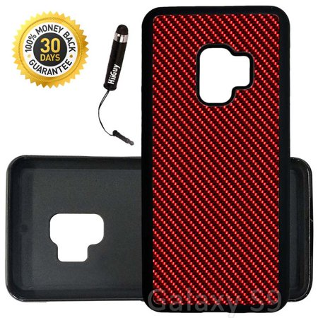 Custom Galaxy S9 Case (Red Carbon Fiber) Edge-to-Edge Rubber Black Cover Ultra Slim   Lightweight   Includes Stylus Pen by Innosub Aa Red Rubber Light