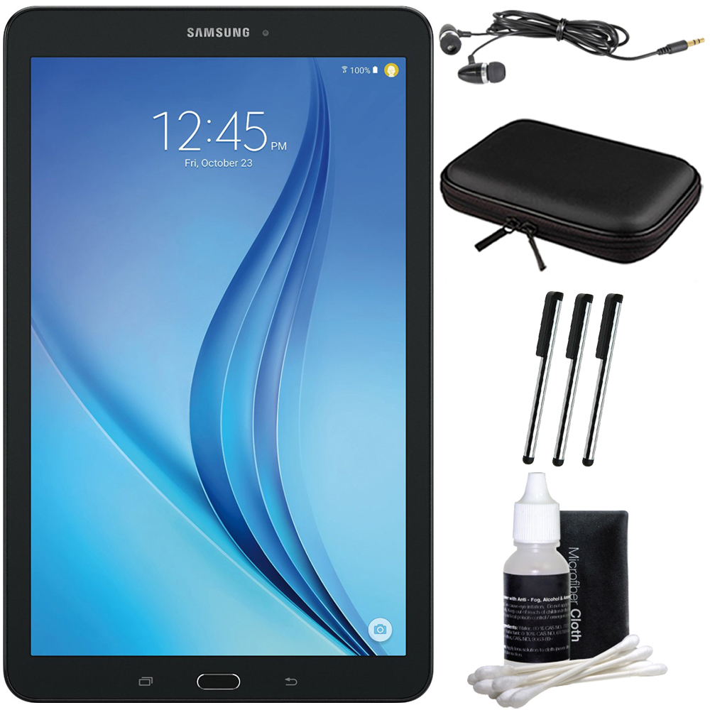 "Samsung Galaxy Tab E 9.6"" 16GB Tablet PC (Wi-Fi) - Black Accessory Bundle includes Tablet, Cleaning Kit, 3 Stylus Pens, Metal Ear Buds and Case with Zipper for Tablets"