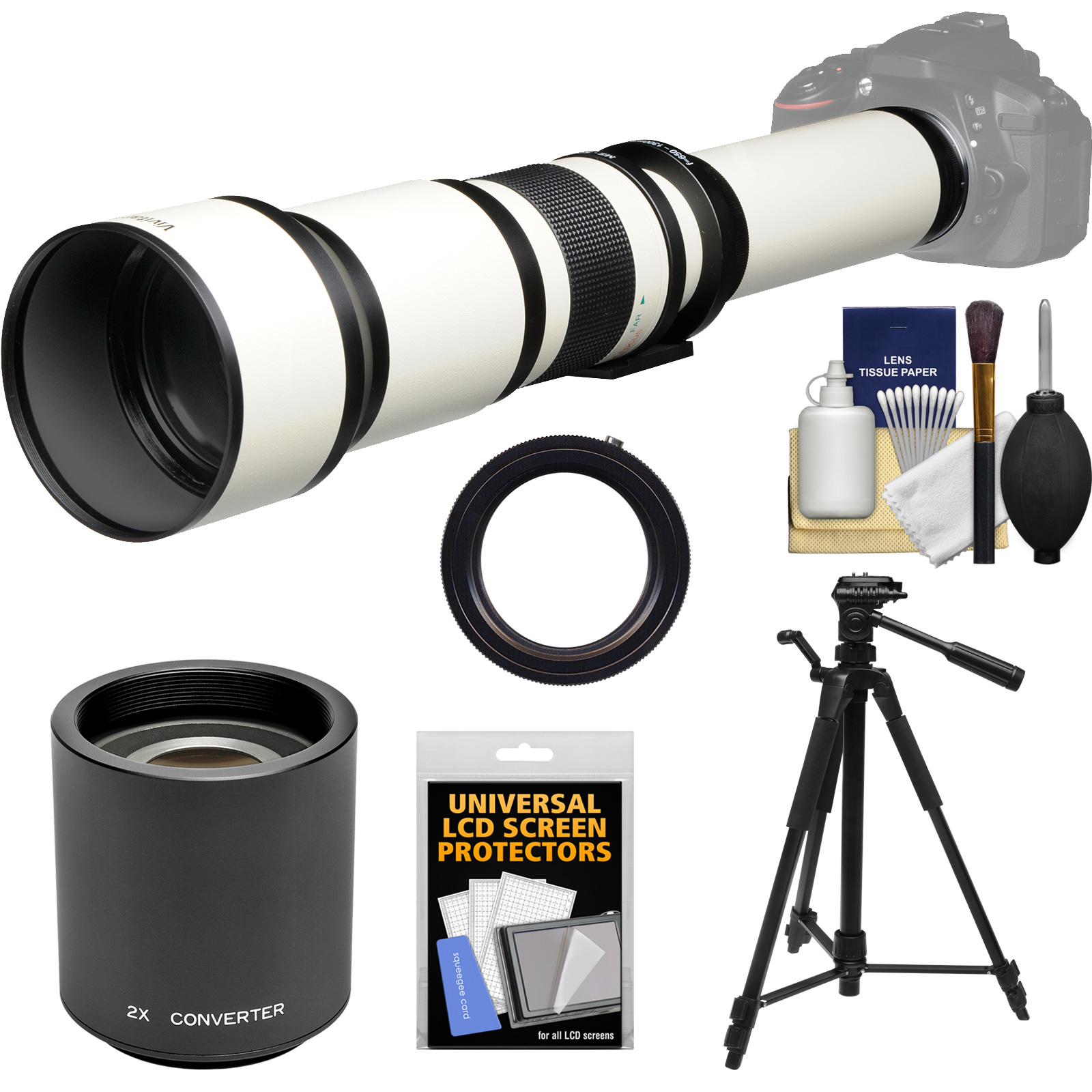 Vivitar 650-1300mm f/8-16 Telephoto Lens (White) (T Mount) with 2x Teleconverter (=2600mm) + Tripod + Kit for Canon EOS 6D, 70D, 7D, 5DS, 5D Mark II III, Rebel T5, T5i, T6i, T6s, SL1 Camera
