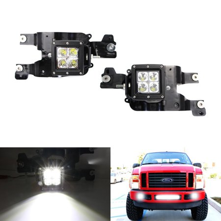 ijdmtoy complete 40w high power led fog lights with mounting bracket, wiring  harness, on/off switch for 2008-2010 ford f-250 f-350 f-450 super duty