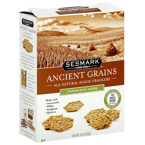 Sesmark Ancient Grains Parmesan Herb Crackers, 3.5 oz (Pack of 6)