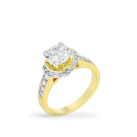 Rhodium and 18k Gold Plated Engagement Ring with Round Cut Clear CZ Polished in Two-Tone Size