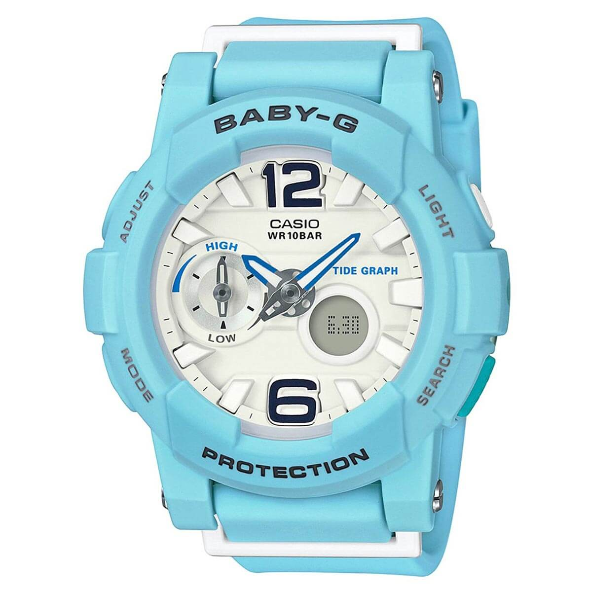 Casio BGA180BE-2B Women's Baby-G White Ana-Digi Dial Light Blue Resin Strap World Time Watch