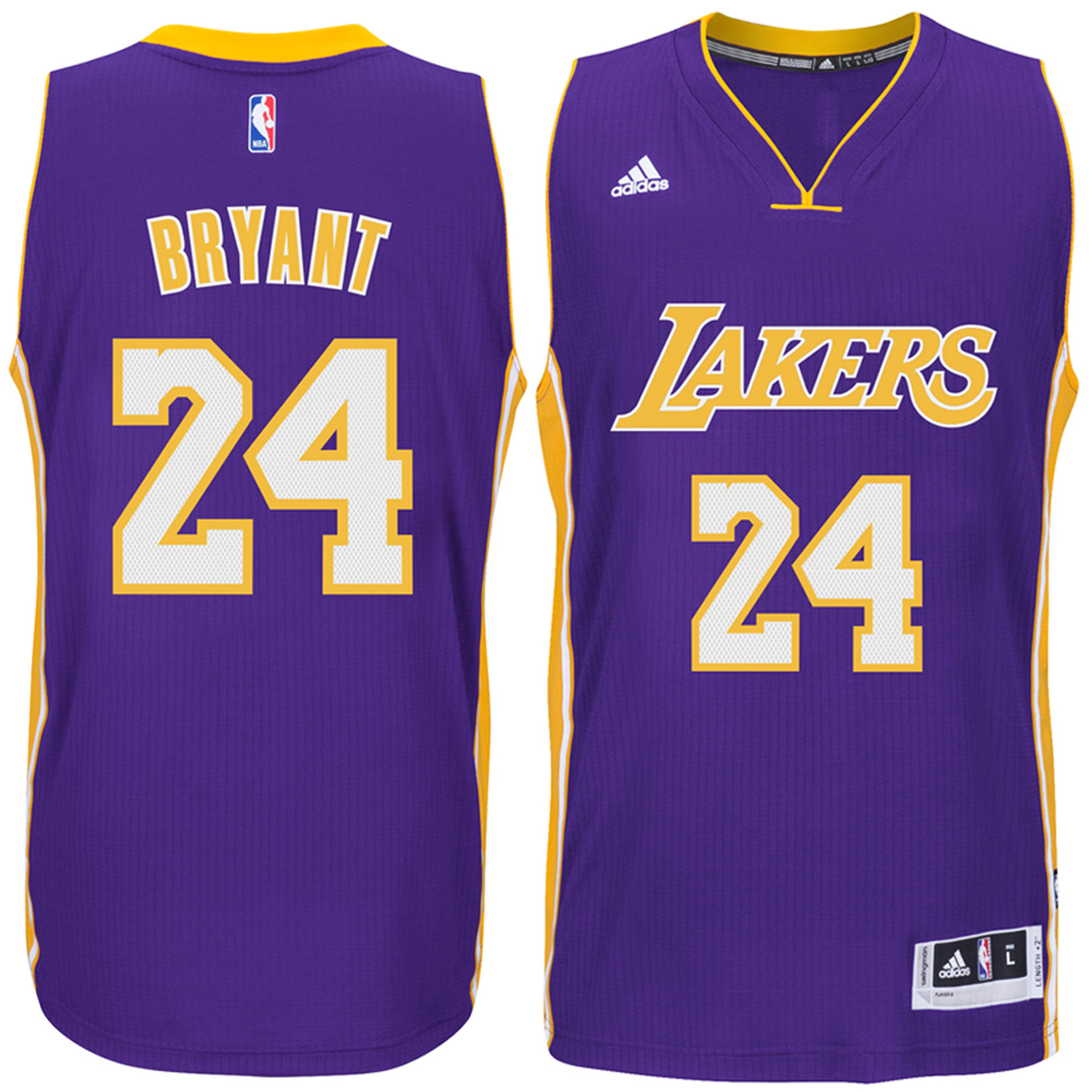 Adidas Los Angeles LA Lakers Kobe Bryant #24 Purple Road Adult Swingman Jersey