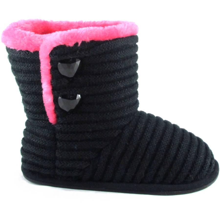 Girls' Black Stripe Knit Slipper Boot