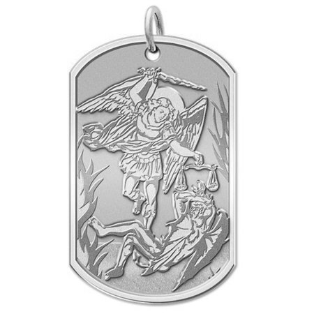 Saint Michael Dog Tag Religious Medal  - 2/3 Inch X 1 Inch - Sterling Silver