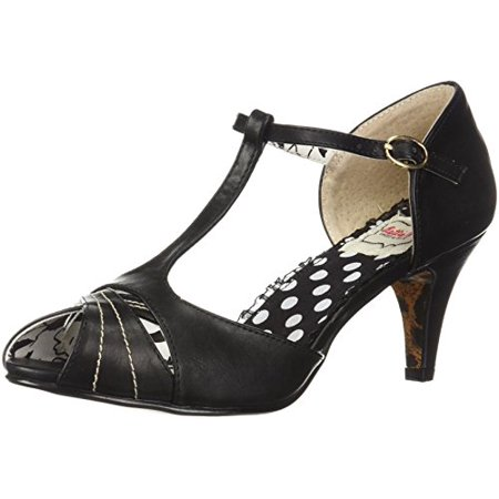 Bettie Page Women's BP250-SYLVIA Heeled Sandal, Black, 9 B US