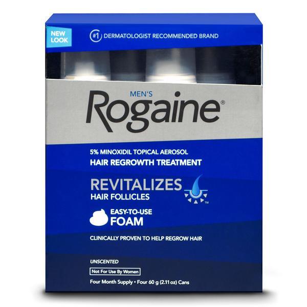 4 Month Supply Men's Rogaine Unscented Foam 5% Minoxidil Hair Regrowth Treatment
