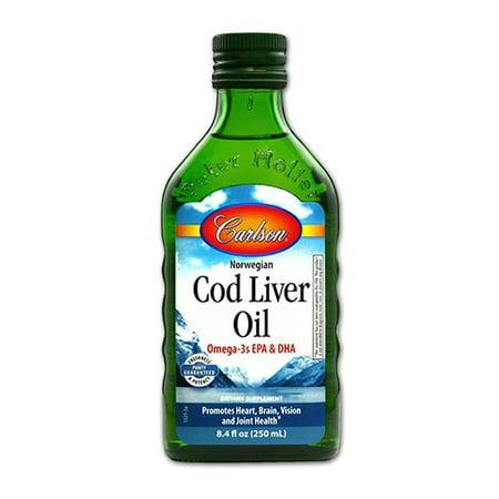 Carlson Labs Norwegian Cod Liver Oil Omega-3 EPA & DHA, Natural Flavor, 8.4 Fl Oz.