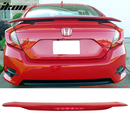 Fits 16-18 Civic X 10th JDM RS SI Style ABS Trunk Spoiler 3RD LED Brake Light Third Brake Light Trim