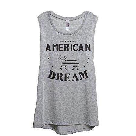 Thread Tank American Dream Unicorn Muscle Tank Tee Women Sport Grey 2XL Gray Tank Top Shirt