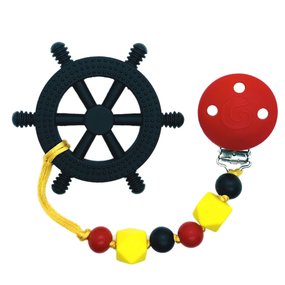 GumBaby 'Yacht Rocker' Teething Toy w/ Beaded Pacifier Clip (Black, Red, Yellow)