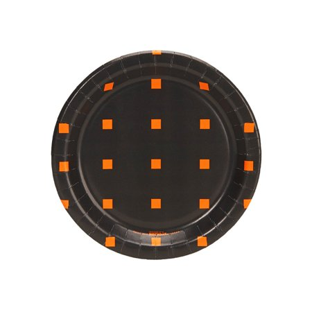 Halloween Black and Orange Square Dot Dessert Plate (8 Count) - Halloween Dessert Idea
