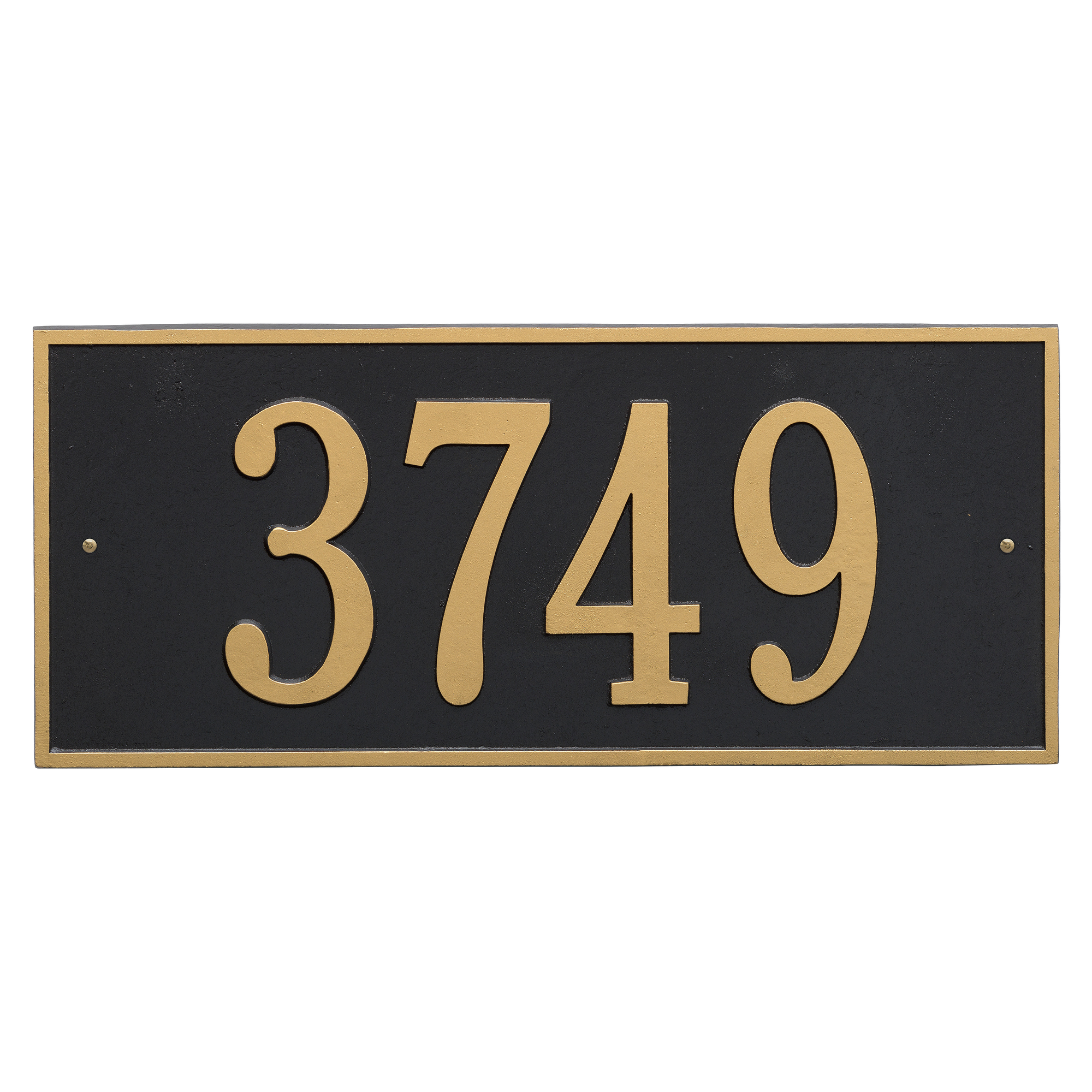 Personalized Hartford Rectangular Estate Wall 1-Line Address Plaque in Black & Gold by Whitehall