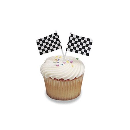 Racing Checkered Flag Cupcake Picks Set of 12, WARNING: CHOKING HAZARD -- Small parts. Not for children under 3 yrs. By Oasis - Checkered Flag Racing