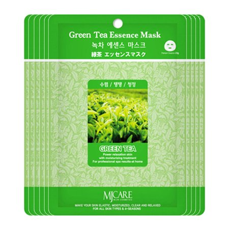 The Elixir Beauty MJ Care Mask Sheet 35 PCS Mask Pack Essence Facial Mask Korean Cosmetic (23g, Green Tea) (Green Facial Mask)