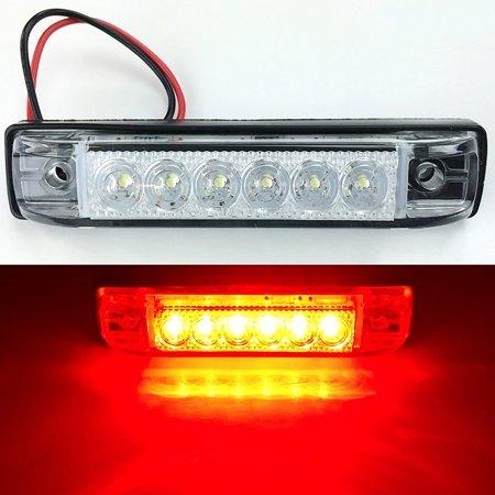 LONG HAUL BRIGHT CLEAR RED LED SLIM LINE LED 12V 12 VOLT UTILITY STRIP LIGHT 6 LEDS 4