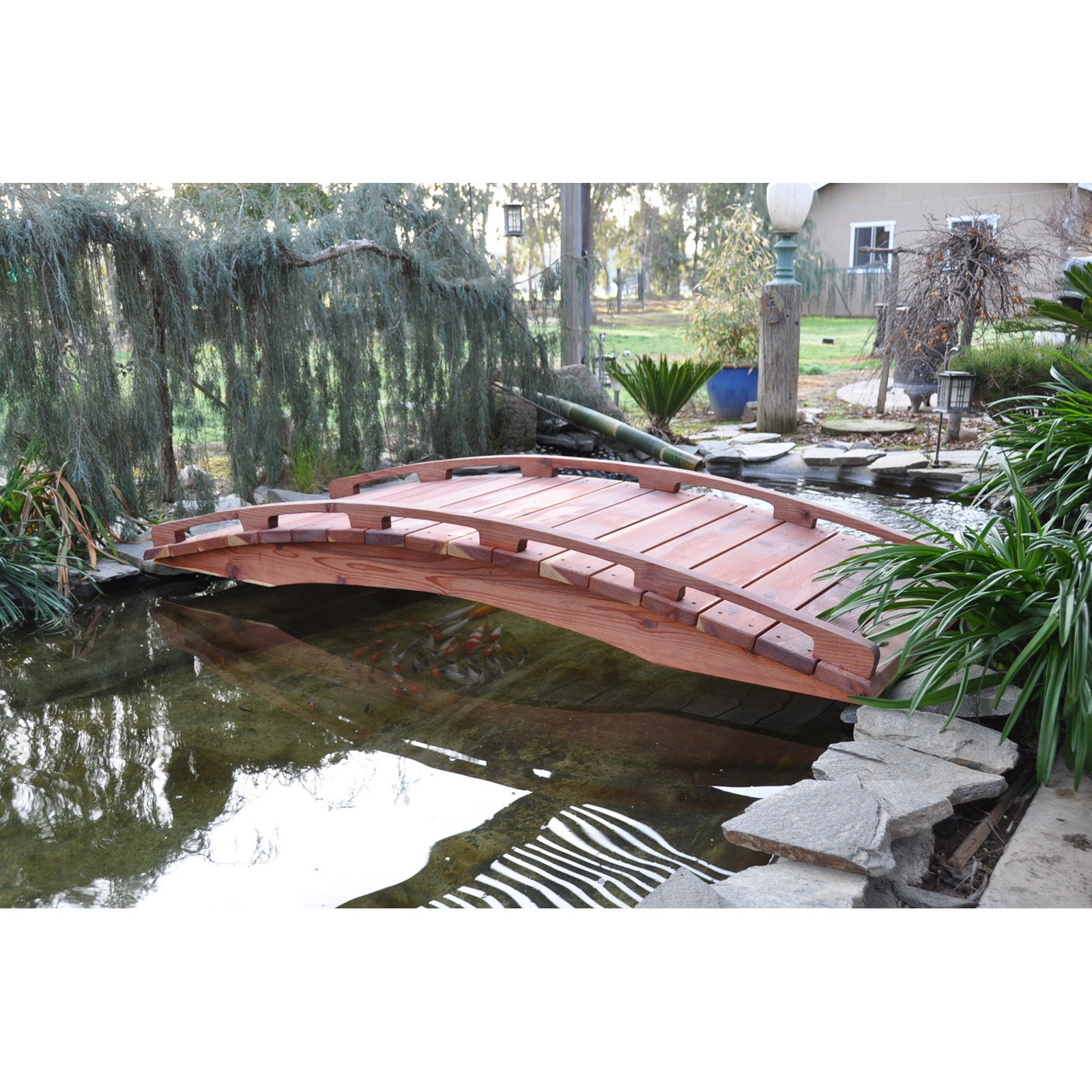 Redwood 6 ft. Japanese Garden Bridge
