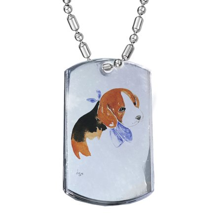 Silver Bandana (KuzmarK Silver Chrome Pendant Dog Tag Necklace - Beagle Puppy with Blue Bandana Dog Art by Denise Every Chrome Dog Tag)
