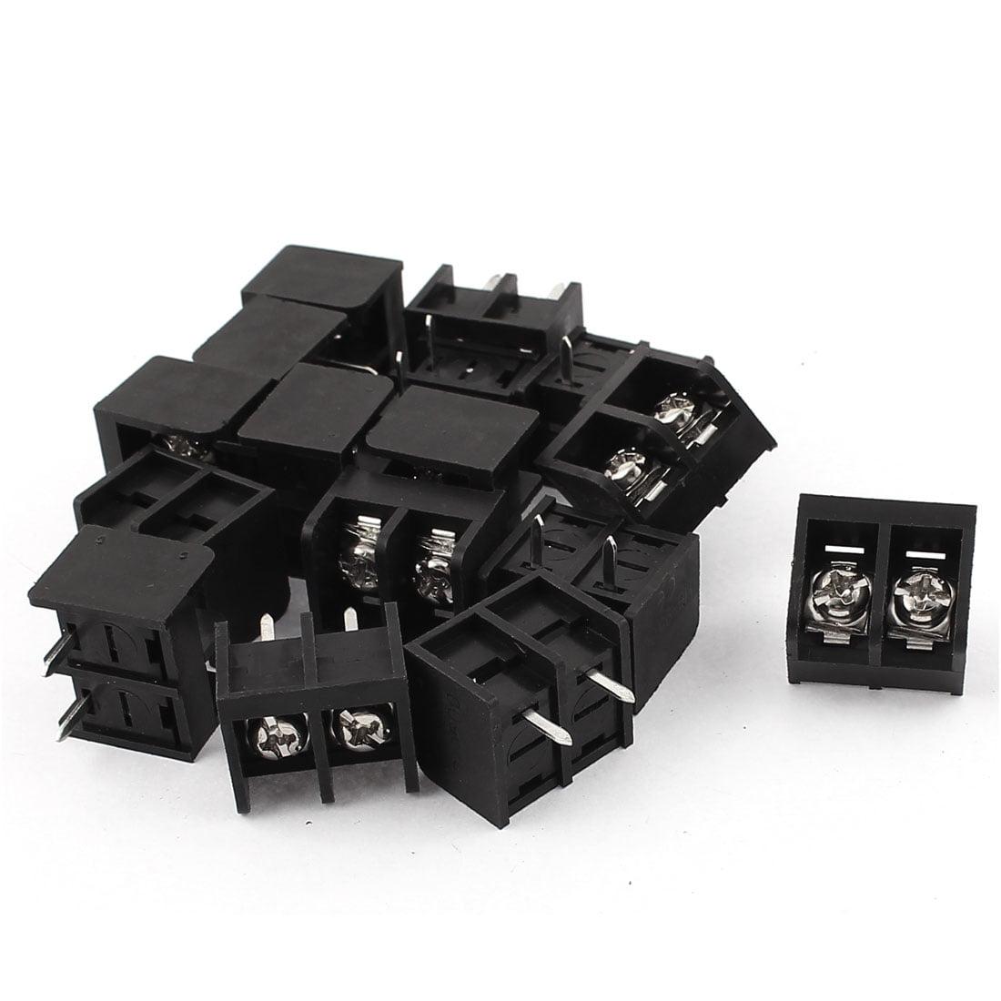 Unique Bargains 16pcs 300V 25A 2 Position Single Row PCB Board Black Screw Terminal Block