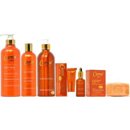 Carrot Glow Package II (Body Wash 27oz + Glycerin 16.8oz + Lotion 16.8oz + Soap 7oz + Cream 1.7oz + Serum 1.66oz)