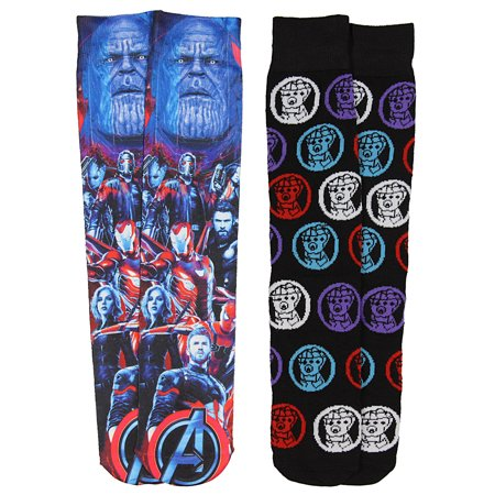 5ef93c30c276 HYP - Marvel Avengers Infinity War Thanos Gauntlet And Photoreal Casual Crew  Socks - Walmart.com