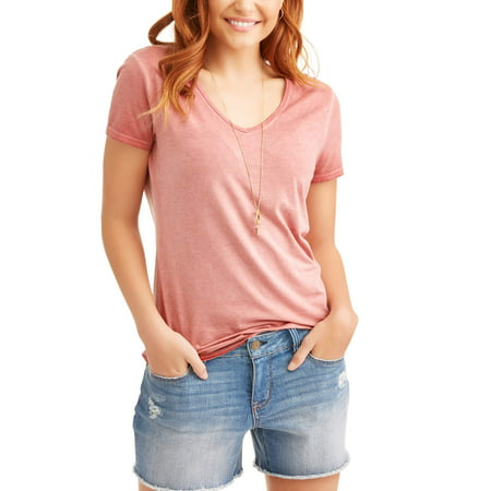 062488f3bf87 Time and Tru - Women's Elevated Short Sleeve V-Neck T-Shirt ...