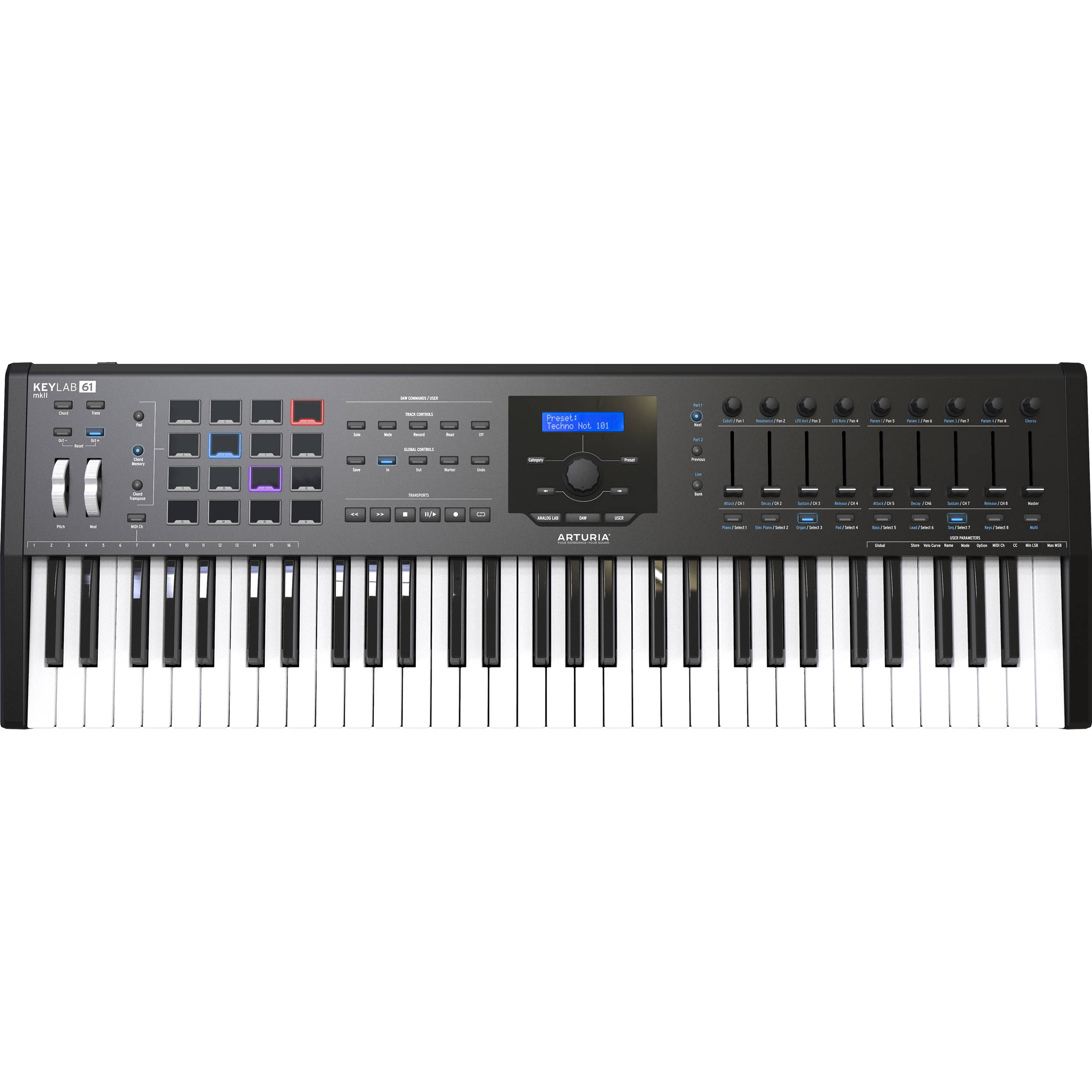 Arturia KeyLab mkII 61 Keyboard Controller - Black featuring 61-note MIDI Controller Keyboard with Aftertouch, 16 RGB Backlit Performance Pads, 9 Large Faders, 9 Rotary Encoders, 4 CV Outputs, 5 Expre