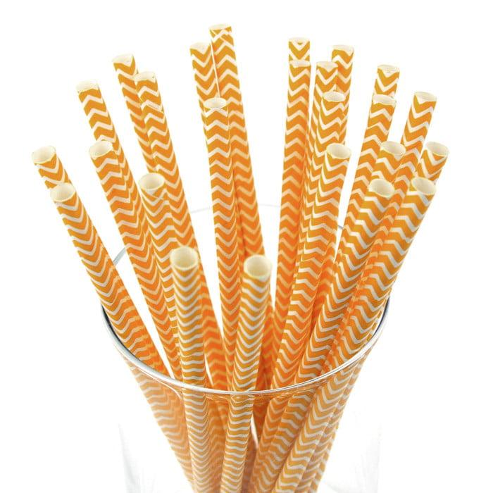 Chevron Paper Straws, 7-3/4-inch, 25-Piece, Orange