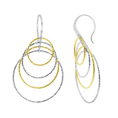 - Gem Avenue 925 Sterling Silver French Ear Wire Drop Two Tone Earrings