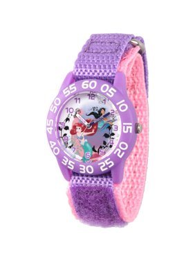 Princess Ariel and Jasmine Girls' Purple Plastic Time Teacher Watch, Purple Hook and Loop Nylon Strap with Pink Backing