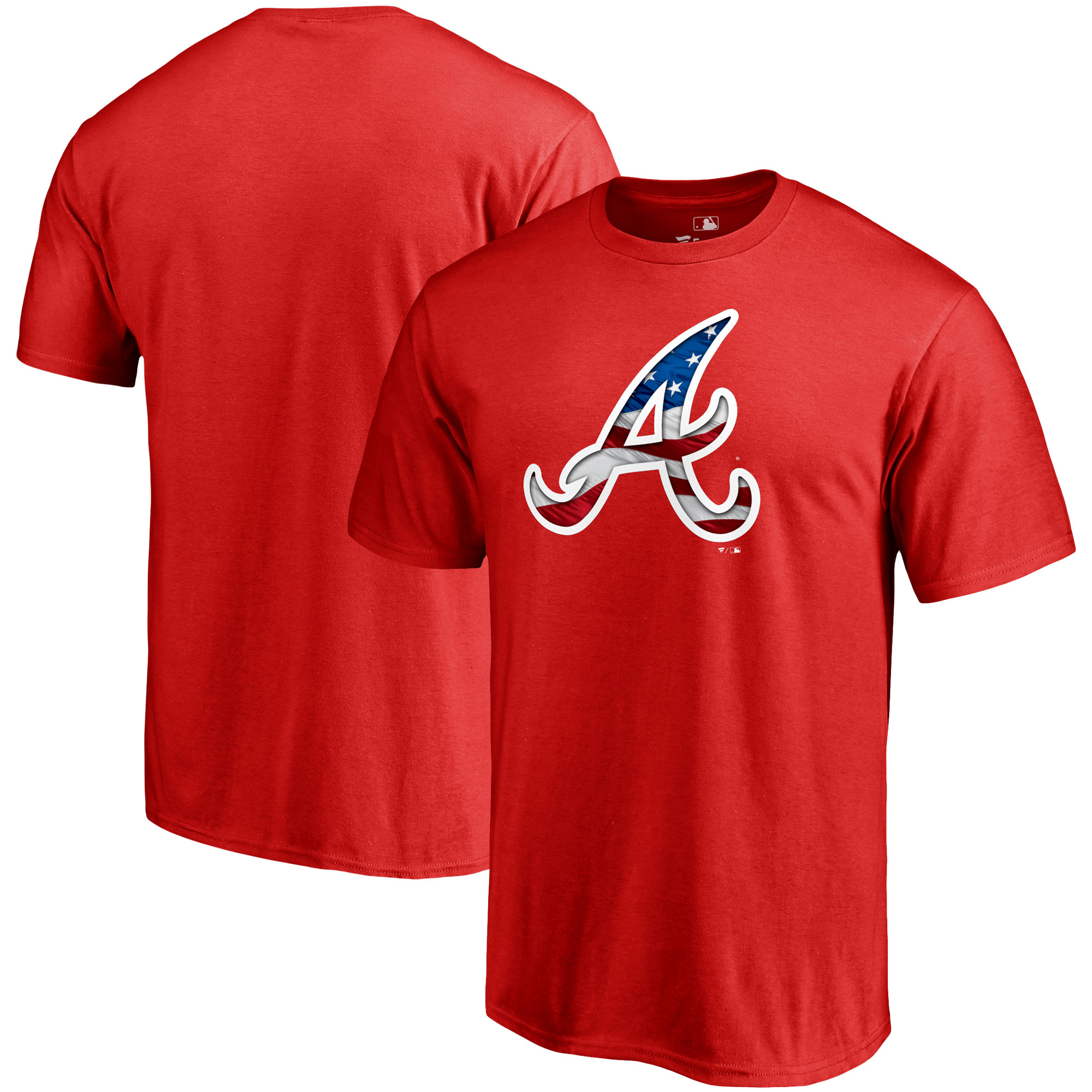 Atlanta Braves Fanatics Branded 2018 Stars & Stripes Banner Wave Logo T-Shirt - Red
