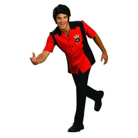 Rock N Bowl Men'S Red & Black Bowling Shirt Costume Adult - Bowling Shirt Costume