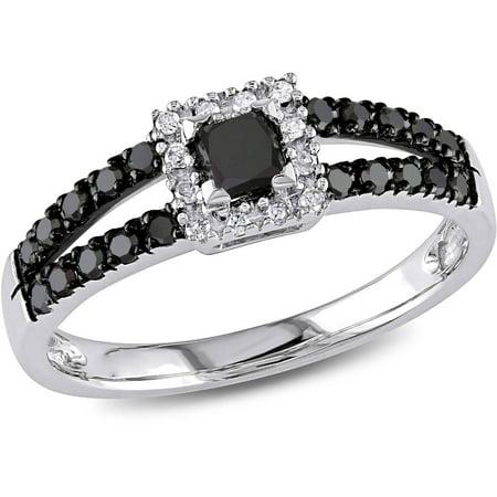 1/2 Carat T.W. Black and White Diamond 10kt White Gold Halo Split Band Design Halo Engagement Ring (Gold Band Diamond Engagement Ring)