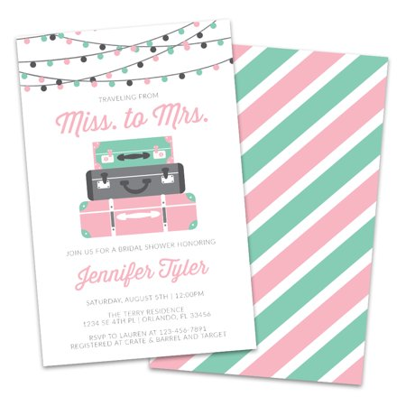 Personalized Traveling from Miss to Mrs. Bridal Shower Invitations - Wedding Shower Invites
