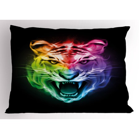 Tiger Pillow Sham Multicolored Abstract Display Large Feline Blazing Spectrum of Fire Rainbow Color, Decorative Standard Size Printed Pillowcase, 26 X 20 Inches, Multicolor, by Ambesonne](Blaze Halloween Display)