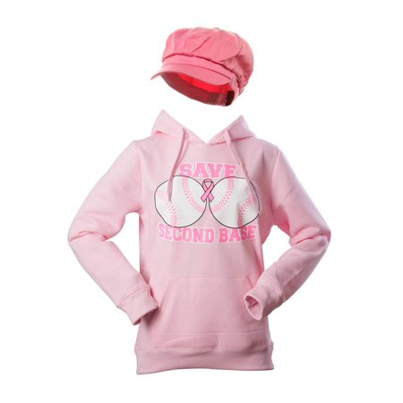 Breast Cancer Awareness Kit - Save Second Base Hoodie + Newsboy Cap (Cancer Awareness Zipper Pull)