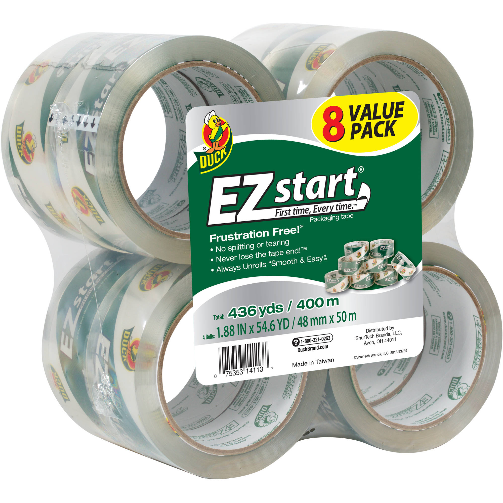 "Duck Brand EZ Start Packaging Tape, 1.88"" x 55 yds, 8-Pack, Clear"