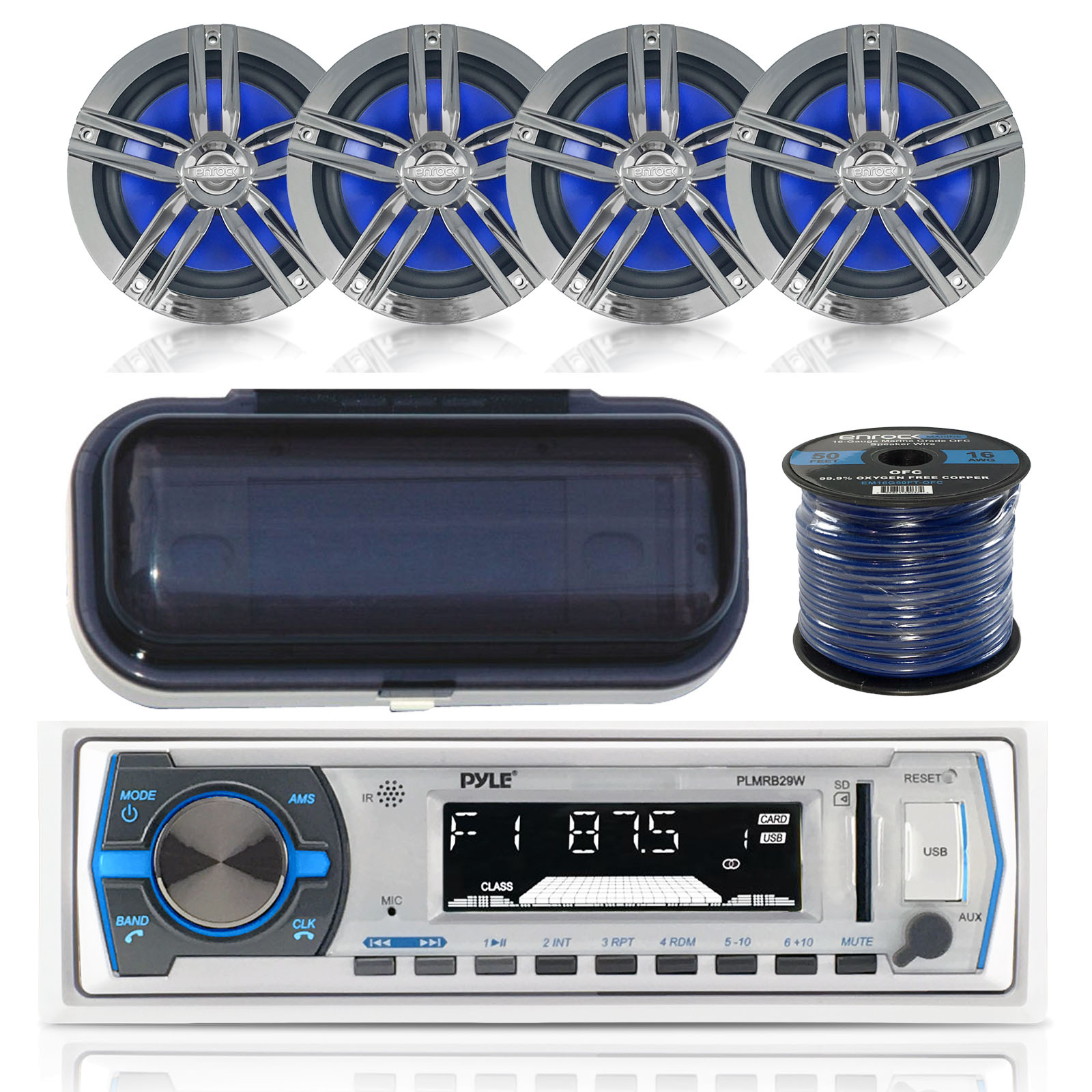 """Pyle PLMRB29W Marine Boat USB/SD/MP3 Bluetooth Stereo Receiver With Waterproof Cover Bundle Combo With 4x Enrock 6.5"""" Inch Dual-Cone Chrome/Black Audio Coaxial Speakers + Enrock 50Ft 16g Speaker Wire"""