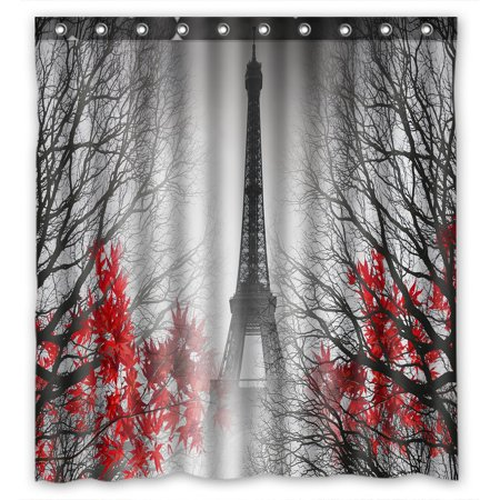 PHFZK Cityscape Shower Curtain, Eiffel Tower in Paris and Red Tree Polyester Fabric Bathroom Shower Curtain 66x72 (Red Curtain Fabric)
